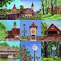 Frankenmuth Downtown Michigan Painting Collage Iv by Irina Sztukowski