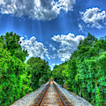 From Here To Who Knows Where Rail Road Tracks Train Art by Reid Callaway