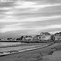 Front Beach Rockport Ma At Sunser Red Clouds Streaking Black And White by Toby McGuire