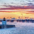 Frozen Fog On Salem Harbor by Jeff Folger