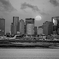 Full Moon Over Boston Ma At Sunrise Black And White by Toby McGuire