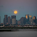 Full Moon Over Boston Ma At Sunrise Bright Moon by Toby McGuire
