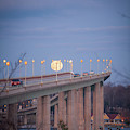 Full Moon Over The Naval Academy Bridge by Mark Duehmig