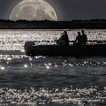 Full Moon Rises In The Lagoon by Wolfgang Stocker
