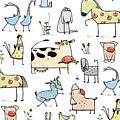 Funny Cartoon Village Domestic Animals by Popmarleo