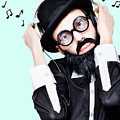 Funny Man Wearing Headphone On Blue Background by Jorgo Photography - Wall Art Gallery