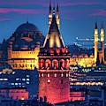 Galata Tower And Suleymaniye Mosque by Fabrizio Troiani