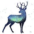 Galaxy Reindeer Silhouette by Olga Shvartsur