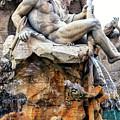 Ganges At Fontana Dei Quattro Fiumi In Rome by John Rizzuto