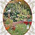Garden Pigeon With White Butterfly And White Bush, Abbie Shores Faa Challenge 19 by Lise Winne