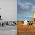Gas Station - In The Middle Of Nowhere 1940 - Side By Side by Mike Savad
