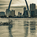 Gateway Arch Sunset - Saint Louis Missouri In Sepia by Gregory Ballos
