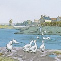Geese By The River Loing 04 by Alfred Sisley
