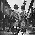 Geisha Girl R Pauses To Chat With A Yo by Alfred Eisenstaedt