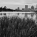 Genessee River Tall Grass Skyline Sunrise Rochester Ny Black And White by Toby McGuire