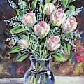 Gentle Pink Roses Bouquet Floral Impressionism  by Irina Sztukowski