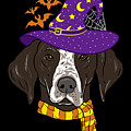 German Shorthair Halloween Witch Hat Flying Bats by TeeQueen2603