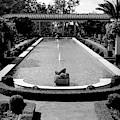 Getty Villa Massive Pool Black White Landscape  by Chuck Kuhn