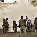 Gettysburg Battlefield - Confederate Artillerymen Firing Cannon by Cindy Treger