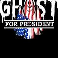 Ghost Elected Cute Halloween Spirit In American Flag Dark by Nikita Goel