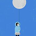 Girl Holding Full Moon Balloon by Luciano Lozano