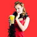 Glamorous Woman Holding Popcorn by Jorgo Photography - Wall Art Gallery
