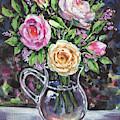 Glass Pitcher With Pink And Yellow Roses Impressionism  by Irina Sztukowski