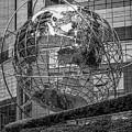 Globe Sculpture At Columbus Circle Bw by Susan Candelario