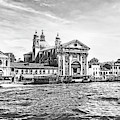 Going Down The Grand Canal Of Venice In Black And White by Kay Brewer