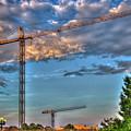 Going Up Greenville South Carolina Construction Cranes Building Art by Reid Callaway
