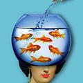 Gold Fish Bowl Woman Surreal by Tony Rubino