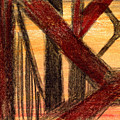 Golden Gate Bridge Sketch In Orange  by Rene Capone