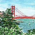 Golden Gate Bridge Watercolor Painting  by Irina Sztukowski