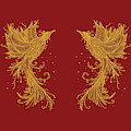 Golden Phoenix Twins On Red by ZeichenbloQ