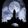 Gothic Woman On Bridge And Full Moon by Clayton Bastiani