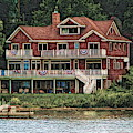 Grand House On Chautauqua Lake Ny Abstract Colored Sketch Effect by Rose Santuci-Sofranko