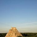 Great Pyramid At Mayan Ruins Of Uxmal by Sean Caffrey