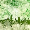 Green Barcelona Skyline by Alberto RuiZ