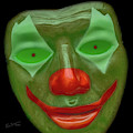 Green Clown Face by Erich Grant
