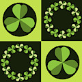 Green Shamrocks Circles And Squares by MM Anderson