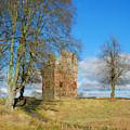 Greenknowe Tower In Winter Sun, Scottish Borders by Victor Lord Denovan