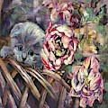 Grey Kitten In Basket Of Double Peony Floworing Tulips by Ryn Shell