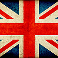 Grunge Union Jack Flag On Rough Edged by Abzee