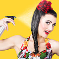 Haircare. Brunette Pinup Woman Using Hair Product by Jorgo Photography - Wall Art Gallery
