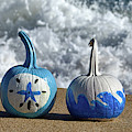 Halloween Blue And White Pumpkins On The Beach by Bill Swartwout Photography
