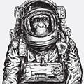Hand Drawn Monkey Astronaut Vector by Tairy Greene