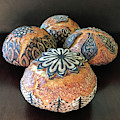Hand Painted Sourdough Seed Pods 10 by Amy E Fraser