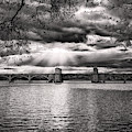 Hanover Street Bridge Sunset Black And White by Bill Swartwout Photography