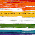 Happy Thoughts Rainbow- Art By Linda Woods by Linda Woods