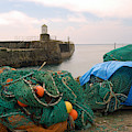 harbour pier and fishings nets at Pittenweem, Fife by Victor Lord Denovan